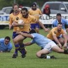 North Otago's Taina Tamou runs with the ball against East Coast at Ruatoria on Saturday. PHOTO:...