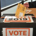 A voter has her say in the 2019 local elections at the DCC yesterday. Photo: Christine O'Connor