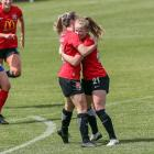 Britney-Lee Nicholson (L) celebrates scoring the Pride's loan goal against Auckland at the...