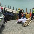 Emergency services at the scene in Moeraki this afternoon. Photo: ODT