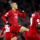 Fabinho celebrates after scoring the first goal for Liverpool. Photo: Reuters