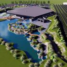 Hot pools project: this developed design aerial view shows the solar array located along the...