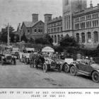 Cars from the Otago Motor Club drawn up in front of the Dunedin Hospital waiting to take wounded...