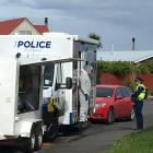 Police at the scene in Invercargill this morning. Photo: Laura Smith