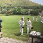 Leo Carter (L) and Timothy Hampton-Matehe are clapped off the field after scoring an unbeaten 318...