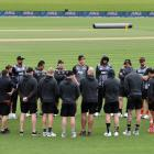 The New Zealand team preparing for tomorrow's T20I against England at Hagley Oval in Christchurch...