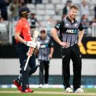 Jimmy Neesham sees the funny side as New Zealand and England are forced  into a super over in the...
