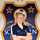 Southern United defender Hannah Mackay-Wright relaxes at Logan Park Turf yesterday in preparation...