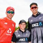 England captain Eoin Morgan, left, Rolleston's Harrison Rooney and stand-in Black Caps skipper...