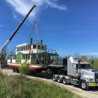 The Kaiapoi River Queen was finally launched at the Kaiapoi River on Monday by crew from Smith...