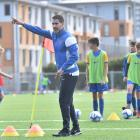 Fifa special guest Juan Pablo Angel helps train some Southern United academy players at the...