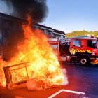 A burning couch in North Dunedin. Photo: ODT files