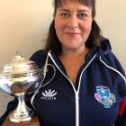 Cromwell rugby stalwart Paula Clark and her volunteer of the year award. PHOTO: SUPPLIED
