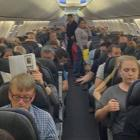 The Qantas passengers on board the stranded QF171 flight at Ohakea military base . Photo: Supplied