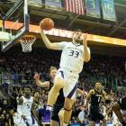 Sam Timmins pulls in a rebound for the Washington Huskies last season. Photo: Getty Images