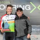 Tour of Southland race director Bruce Ross with leading Southland rider Corbin Strong at last...