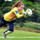 Otago wicketkeeper-batsman Sophie Gray nabs a catch at the University of Otago Oval yesterday....