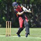 Albion batsman Taylor Cumberland opens his shoulders while batting against University-Grange at...