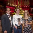 TOP OF THE CLASS: Year 13 Dux Adam Smith with principal Joe Eccelton and Proxime Accessit Lexi...