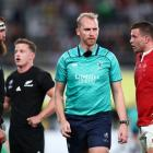 Wayne Barnes officiates the third and fourth playoff between the All Blacks and Wales at the 2019...