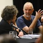Author Kate de Goldi pays rapt attention as Port Chalmers illustrator and author David Elliot...
