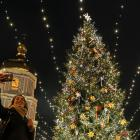 In the Ukraine, people take selfies in front of the St. Sophia Cathedral in central Kiev. Photo:...
