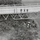 Police inspect the scene under the Haast Bridge where the body of Jennifer Beard was found. PHOTO...