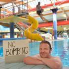 Oamaru reporter Daniel Birchfield celebrates the return of bombing at Oamaru pool.