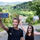French tourists Kevin Weiss and Ella Difraya were still up for a Baldwin St climb yesterday,...