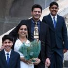 They are (from left) New Zealand-born Zak Jamil (13), Raahila Jamil, of Fiji, Jamil Ahmed, of...