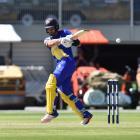 Otago all-rounder Anaru Kitchen pulls the ball during his side's twenty20 match against...