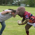 Southern Field Days head rugby organiser Simon Vallely and Rugby Southland mascot Steve-O the...