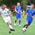 Auckland City player Angel Berlanga crosses the ball as Southern United forward Joel Stevens...