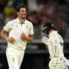 Mitchell Starc celebrates dismissing New Zealand captain Kane Williamson. Photo: Getty