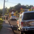 Emergency services at the scene in Gore last night. Photo: Supplied