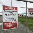 Signs at the Winton wastewater treatment plant warn off members of the public. The Southland...