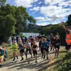 Queenstown youngster Matthew Murray (front) came sixth in the Lake Hayes kids duathlon, finishing...