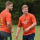 New Highlanders captain James Lentjes (right) and lock Jack Whetton at training at Logan Park...