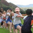 The girls beat the boys at the tug o' war at the Kurow Races yesterday. PHOTO: HAMISH MACLEAN