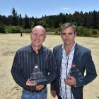 Tuapeka Gold Print shareholder Brad Houghton (left) and chief executive officer Greg Jolly hold...