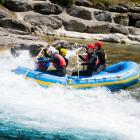 Otago Polytechnic outdoor and adventure education students at Hawea Whitewater Park on the Hawea...