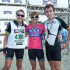 The Faulkner family (from left) Jessica, Simone and James at the finish line of a previous Coast...