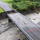 A washed out bridge near Mount Hercules on the West Coast during the weekend. Photo: RNZ / Conan...
