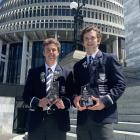 Recipients of two national prizes at the Young Enterprise New Zealand Awards on Wednesday night...