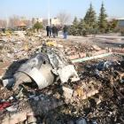 Wreckage from the crashed plane on the outskirts of Tehran. Nazanin Tabatabaee/WANA (West Asia...