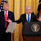 US President Donald Trump (L) and Israel's Prime Benjamin Minister Netanyahu deliver joint...