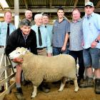 With the top priced Perendale ram at the Gore ram fair are (from left) Carrfields agent Callum...