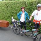 Camilla and Julian Cox left Ashburton on Wednesday morning with their tandem bike and coffin on...