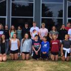 Christchurch's JASI swim team members and supporters at their accommodation base, the new lodge...