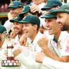 The Australian team celebrate with the Trans-Tasman trophy after victory during day four of the...